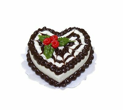 Miniature Chocolate Heart Valentine Or Christmas Cake For Dollhouse Bakery 1 12