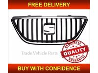 SEAT IBIZA 2008-2012 FRONT BUMPER TOP CENTRE MAIN GRILLE WITH CHROME MOULDING NEW FREE DELIVERY