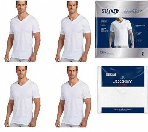 Jockey Men's V-Neck T-Shirts, Classic Tag Free 100% Cotton,4
