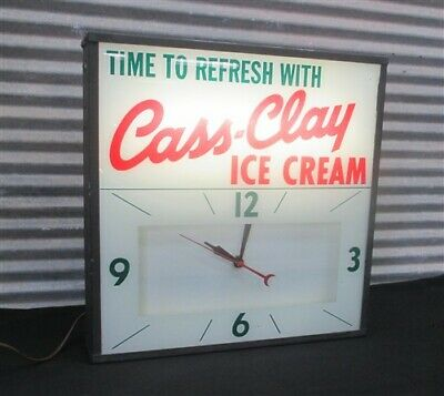 Time Refresh Cass Clay Ice Cream Advertising Clock Light Sign Diner Gas Station for sale  Payson