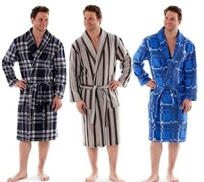 Herren Polar Fleece Robe, Kariert Gestreift Bademantel, M L XL XXL, MN122-4 ()