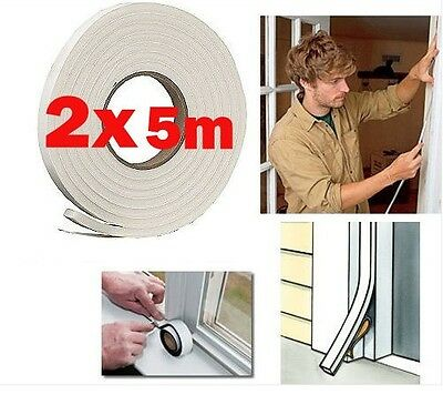10 Metres Draft Draught Seal Sealer Self Adhesive Tape 9mm Wide, Door or Window