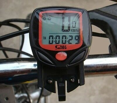 BICYCLE CYCLE BIKE LCD WIRED WATERPROOF COMPUTER SPEEDOMETER SPEEDO ODOMETER