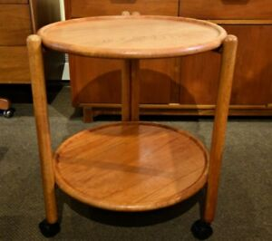 MID-CENTURY MODERN TEAK FOLDING TRAY CART AND LAZY SUSAN TOP
