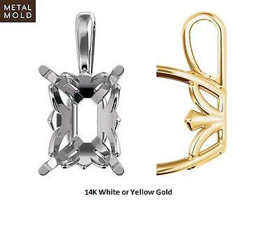 14K Gold Emerald Shape 4-Prong Fleur-de-lis Pendant Setting Mounting  ()