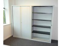 GREY TAMBOUR CUPBOARDS VERY GOOD CONDITION - 2MTS HI X 1MT WIDE WITH SHELVES