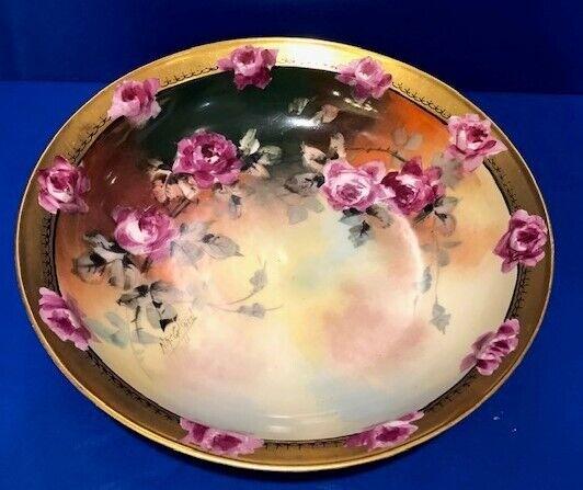 JPL Limoges & Pickard Artist Signed (N R Gafford ??) Bowl Floral Rose Design