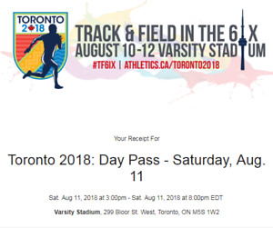 Track & Field In the 6ix Toronto (4tickets)