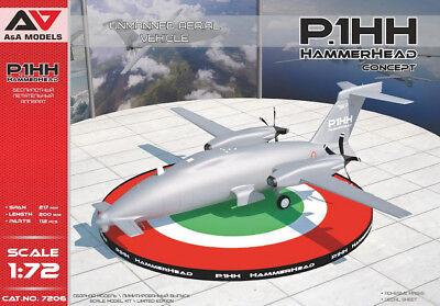 """PIAGGIO P.1HH """"HAMMERHEAD"""" UAV DRONE A&A 1/72 PLASTIC KIT"""