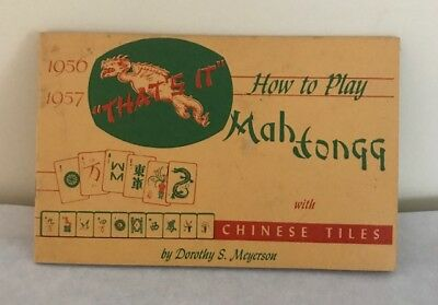 Antique Vintage 1956 Learn Mah Jongg Instruction Book Dorothy Meyerson Pristine