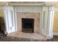 Large gas fire and surround/ fireplace