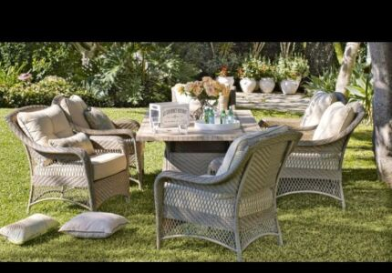 Wonderful Beautiful Wicker Outdoor 7 Piece Marble Top Dining Table Part 14