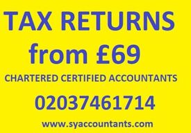 Tax Return from £69 Self Assessment, CIS Rebates,Tax Refund, VAT, Payroll, Accountant, Bookkeeping