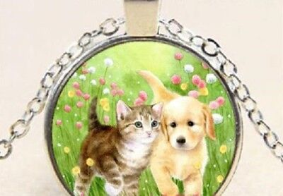 CAT KITTY DOG PUPPY FLOWERS PET  charm pendant Silver Necklace FREE $20 GIFT  4U