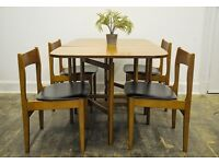 Vintage 1960's Mid Century Folding Gate Leg Table and Chairs (x4)