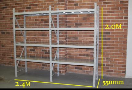2.0M x 2.4M 1200KG 8 Shelves Heavy Duty Adjustable Steel Shelving