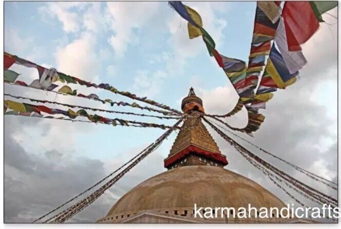 "10 Tibetan om Prayer Flag Buddhist 5.2"" *6.2"" Multi Color Wind Horse Nepal 3"