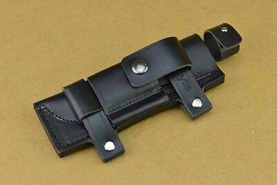 """2019 Leather Belt Sheath Straight Case Black For Less 7"""" Fixed Knife Pouch Gift"""