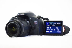 Canon Rebel T3i, lens, battery, bag, charger, 32 GB SD card