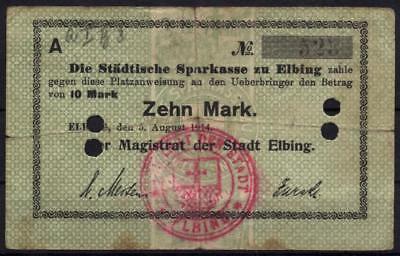 [13598] - NOTGELD ELBING (heute: Elblag), Städtische Sparkasse, 10 Mark, 05.08.1