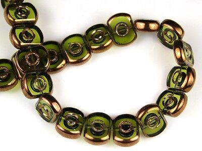 30pcs Olive Copper Tablet Electroplated Spacer Loose Craft Glass Beads 9x12mm  for sale  Shipping to India