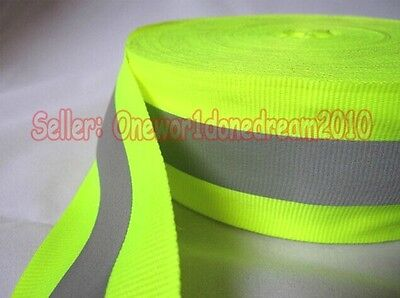Reflective Lime Yellow Gray Tape Sew On 1 Trim Fabric Material 6m 20 Feet