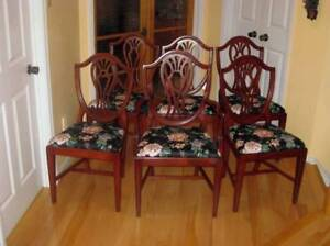 2 Sets Refinished Mahogany Shield Back Dining Chairs, Table