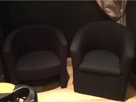 2 Black cub chairs / reception chairs