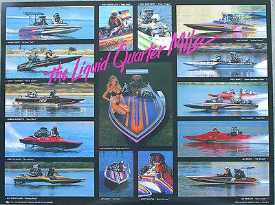 The LIQUID UARTER MILE New 1987 Drag Boat Poster Racing, IHBA, NDBA, SDBA, NJBA