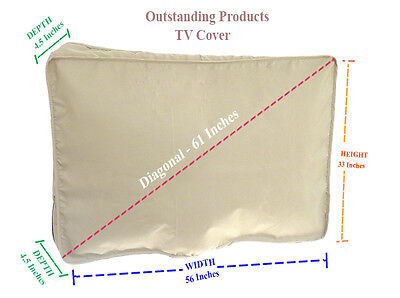 Weather Resistant Lined Protective Outdoor TV Cover For Sharp LC-60LE660U Beige