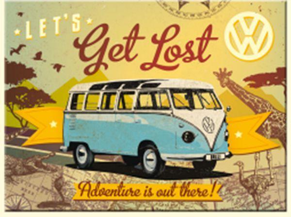 VW Volkswagen Camper Lets Get Lost metal fridge magnet na