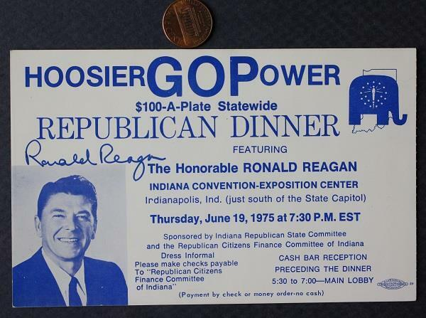 1975 Governor Ronald Reagan for President signed Indianapolis,Indiana ticket!*