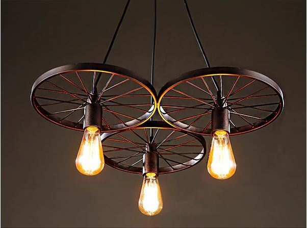Photo Farmhouse Lighting Chandelier Rustic Vintage Wagon Wheel Edison Light Fixture