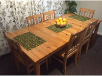 Grat pine wood dinning table 6 chairs adjastable lengh