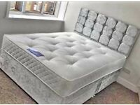 💛💛Made to UK Standard💛💛 DOUBLE CRUSHED VELVET DIVAN BED BASE WITH DEEP QUILTED MATTRESS