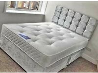 💛💛SAME DAY DELIVERY💛💛 DOUBLE CRUSHED VELVET DIVAN BED BASE WITH DEEP QUILTED MATTRESS