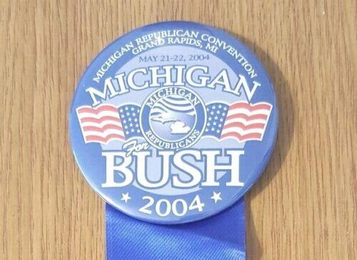 Michigan For Bush (George W.) Michigan Republicans Conv May 2004 Campaign Button