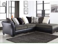 Suede and leather corner sofa and chair