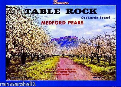 Medford Oregon Table Rock Pear Fruit Crate Label Art Print