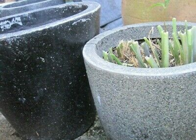 Sturdy outdoor garden plant pots in Grey (30cms and 38cm  diameter)
