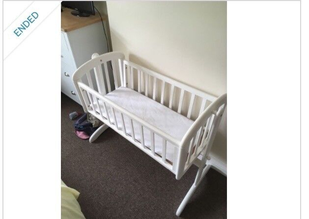 John Lewis Swinging Crib in White, with mattress and sheets