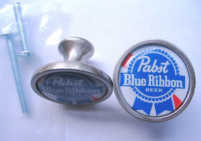 Pabst Beer Cabinet Knobs, Pabst blue Ribbon Logo Cabinet Knobs,  Pabst Knobs
