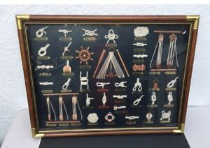 VINTAGE FRAMED PICTURE OF SEAMAN ROPE KNOT TIEING PICTURE -