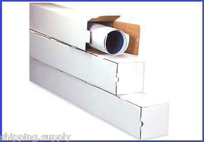 50 Pack - 2 And 4 White Square Mailing Shipping Tubes - 4 Sizes Available