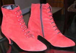 Size 9 Red Suede Ankle Boots