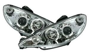 Clear chrome H4 Headlights front lights with angel eye rings for PEUGEOT 206