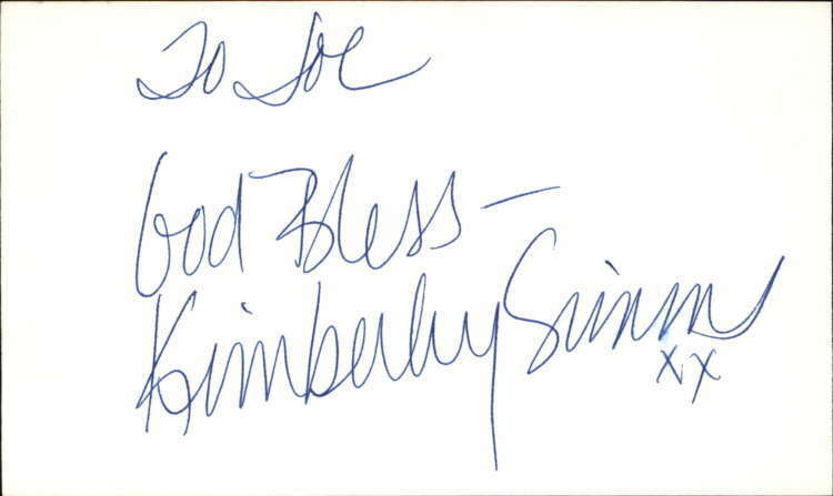 "Kimberly Simms Actress Guiding Light Signed 3"" x 5"" Index Card"