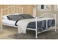 New White 4ft6 Double Metal Bed with memory foam Mattress