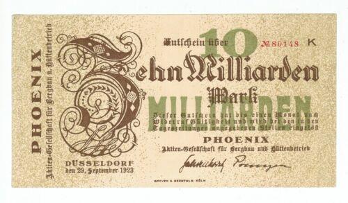 GERMANY BANKNOTE 10 BILLION MARK PHOENIX 1923