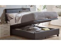 King size Black Faux Leather Ottoman Bed Frame with storage and Mattress included